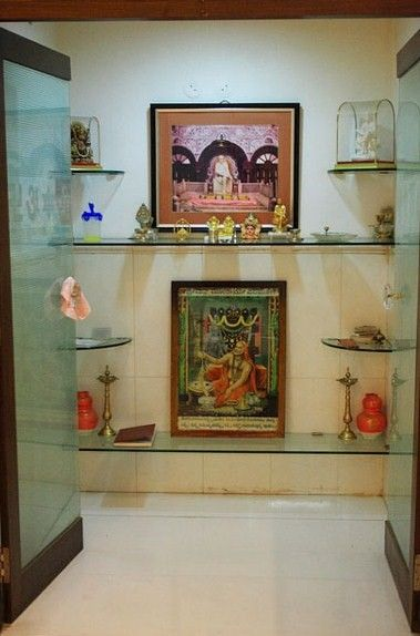 Pooja Space designs in glass