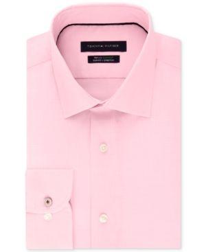 20c60aba Tommy Hilfiger Men's Slim-Fit Non-Iron Performance Stretch Check Dress  Shirt - Pink 15.5 34/35