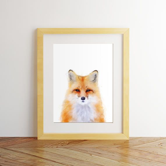 Fox print Fox wall art Nursery decor Nursery wall art