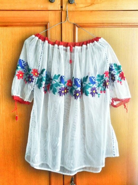 spring comes here - vintage floral, ethnic, bohemian embroidered blouse / transparent - folkloric, romanian embroidery / art to wear