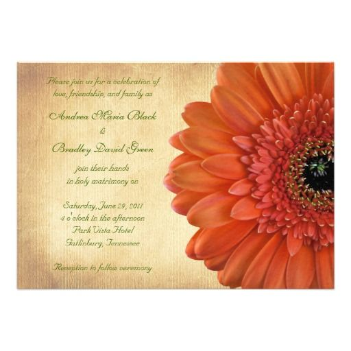 Orange Coral Gerbera Wedding Invitations