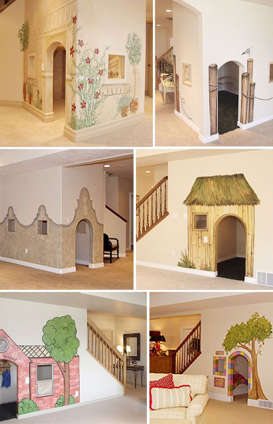 Would love to paint a mural and make a fun, secret kids' hideout in that room under the stairs.