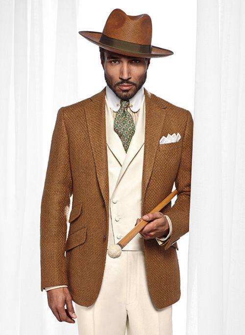 Camel blazer, cream slacks and vest