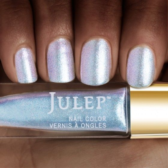Aquamarine birthstone iridescent shimmer nail polish