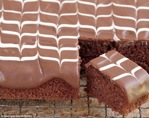 Mary Berry Cooks: Rich chocolate tray bake with feathered icing.