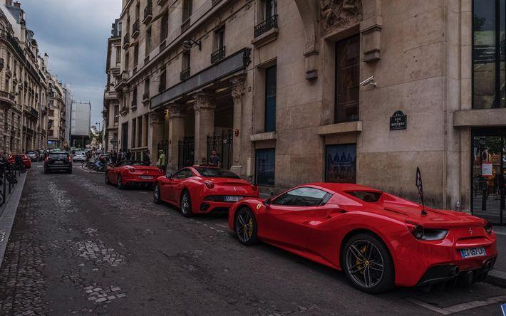 Download wallpapers Ferrari 458 Spider, Ferrari F12berlinetta, F12berlinetta roadster, italnskie sport cars, supercars, expensive cars, Italy, Ferrari