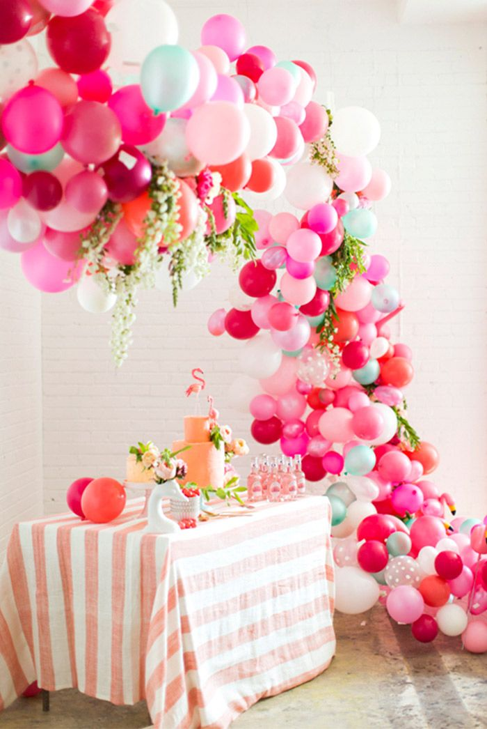 Balloons and table set-up for party