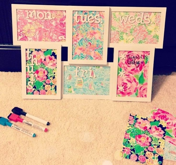 Lilly Pulitzer Weekly calendar - put prints in picture frames, each to represent a day of the week, use dry erase for notes. | Love it
