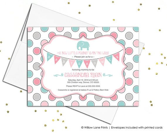 17 Best Elephant Baby Shower Invitations Images On Pinterest   How To Make  A Baby Shower  How To Word Baby Shower Invitations