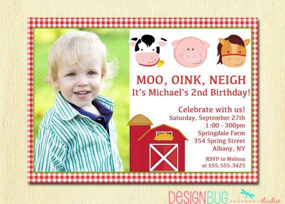 Farm Animals Birthday Photo Invitation Boy or by DesignBugStudio