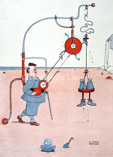 Ramon Winterbotham knew that in a culture of quick-fixes and slow foods, his novel yet nonsensical device fell somewhere in the middle. - William Heath Robinson illustration