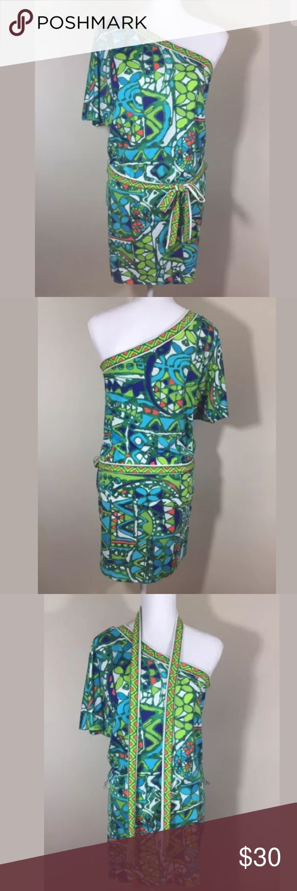 Trina Turk Bali Hai swim coverup dress Small EUC Trina Turk Bali Hai one shoulder swimsuit coverup with removable belt, size small. Perfect for summer vacations! Comes from a smoke free, pet free home. Please ask all questions before purchasing. Trina Turk Swim Coverups