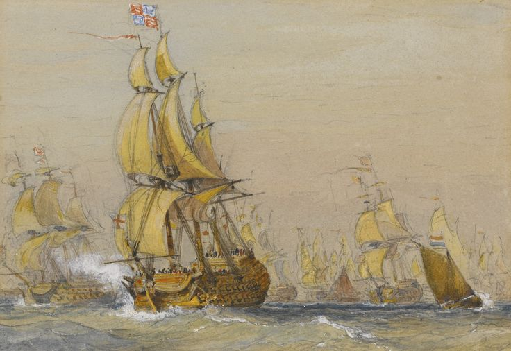 Nicholas Pocock BRISTOL 1740 - 1821 MAIDENHEAD THE BRITISH FLEET AT SEA - THE NEARER SHIP FLYING THE ROYAL STANDARD Watercolour over pencil 110 by 163 mm: