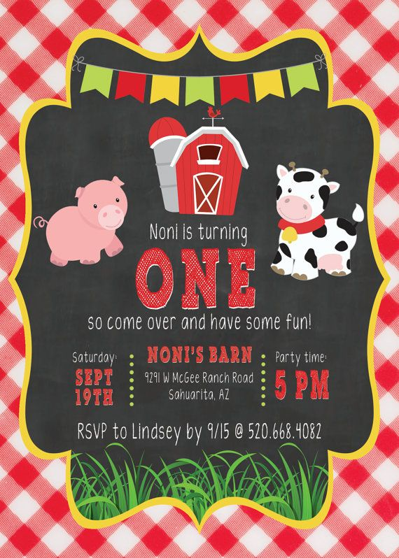 Barnyard bash invite farm party invite DIGITAL DOWNLOAD  Barn Yard Birthday by PrettyPaperGoods365