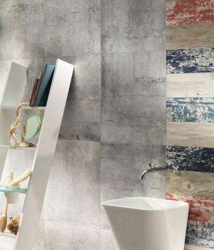 Revestimiento de pared imitación concreto para interiores LIVINGSTONE Cement Worn Colección Livingstone by TUBADZIN