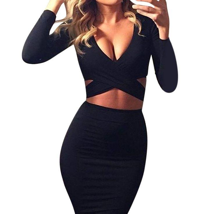 sexy Women's dress black Autumn And Winter Sexy Slim sukienka V-Neck Bag Hip Solid color vest…