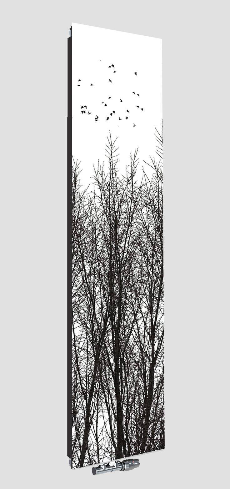 Grzejnik dekoracyjny szklany z motwem drzew Nova Glass od Radox Radiators