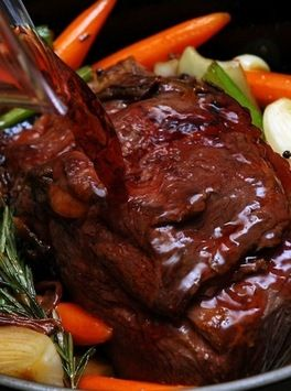 Brasato al Barolo - beef and vegetables slow cooked in Barolo wine from the Piedmont region of Italy.