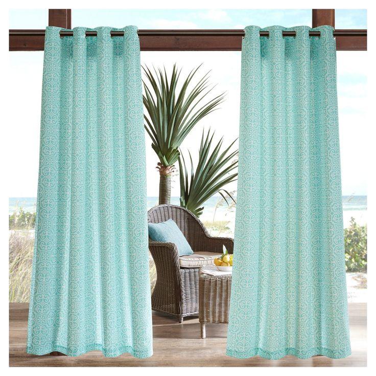 "Delmar Printed Fret 3M Scotchgard Outdoor Curtain Panel Aqua (Blue) (50""x95"")"