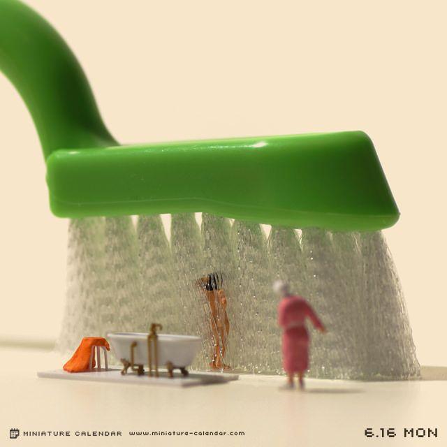 Un diorama miniature par jour avec des objets détournés