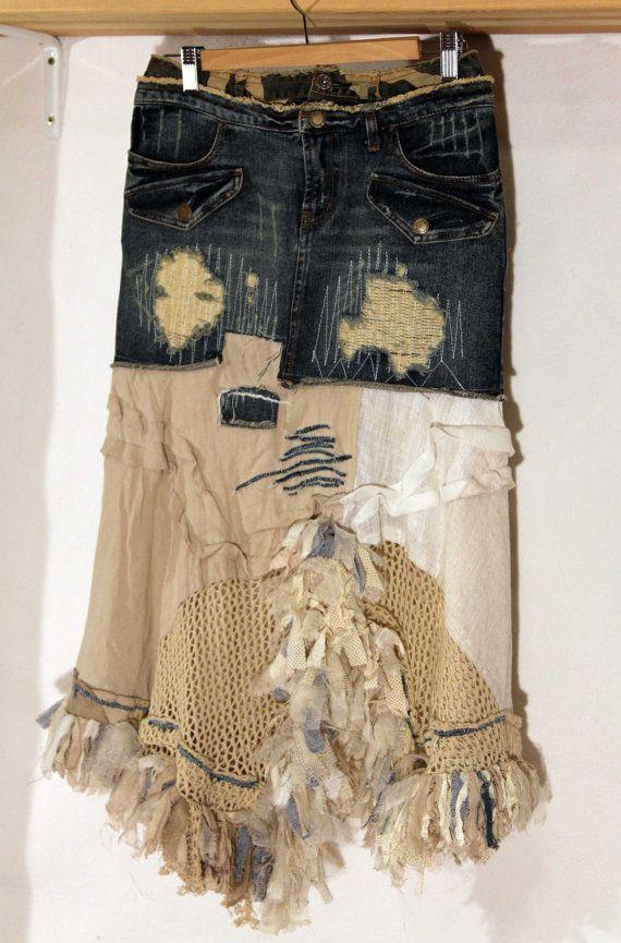 Jeans and sand boho skirt