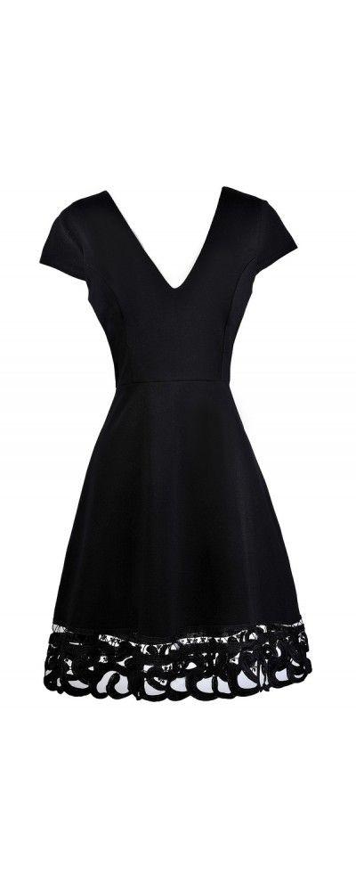 Lily Boutique On The Edge Capsleeve A-Line Dress in Black, $38 Black Capsleeve A-line Dress, Little Black Dress, Black Party Dress, Black Sundress, Black Lace Trim Dress www.lilyboutique.com