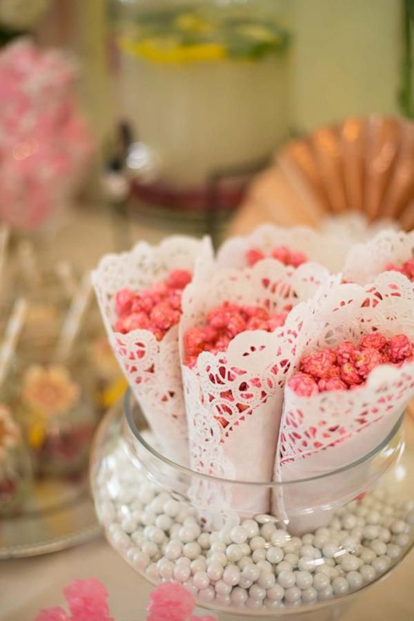 Make pretty treat cones out of paper DOILIES! Such a good idea! More fab party ideas like this on KarasPartyIdeas.com