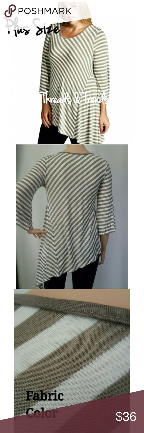 "Plus Size! Striped Tunic Beautiful color of taupe and white striped tunic top. Featuring stripes on a angle for a slimmer look. Poet sleeves. May of rayon and spandex. Size XL, XXL, XXXL.                                                                          Xl 38"" to 42"" bust, length 29""/40""                                                                                                              XXL 40 to 44 bust  length 29""/40                                                   XXXL…"