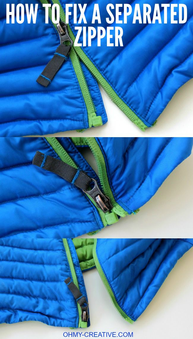 How to Fix a Separated Zipper - with this simple trick, using a common household product, it can be easy to repair a zipper with little effort! | OHMY-CREATIVE.COM #LetsSew