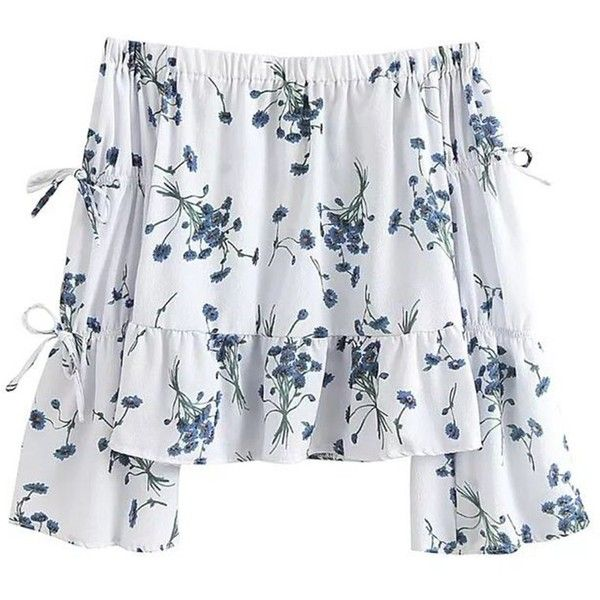 'Kindra' White Floral Peplum Off Shoulder found on Polyvore featuring polyvore, women's fashion, clothing, tops, shirts, blusas, white floral shirt, peplum shirt, white tops and white off shoulder top