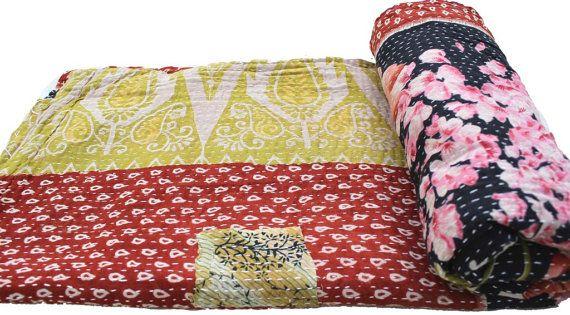 Indian Vinatge Sari Patchwork Kantha Quilt by Thepuranabazaar