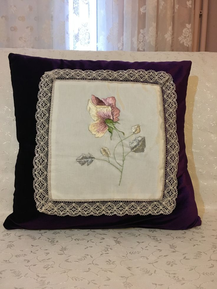 Hand embroidered purple velvet pillow by BubuZuzu on Etsy