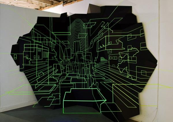 Damien Gilley - Keller Fortress - Foam core, fluorescent tape, blacklights