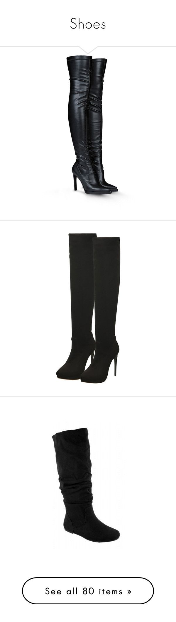 """Shoes"" by maryemmanuel on Polyvore featuring shoes, boots, heels, botas, stella mccartney, black, stretch over the knee boots, over-the-knee high-heel boots, black leather over the knee boots and over the knee high heel boots"