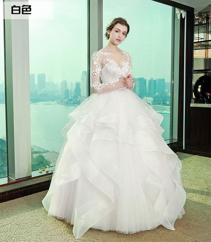 신부 웨딩 드레스 2017 새 봄 패션 공주 워드 어깨는 얇은 한국어 레이스 스커트 제나라이었다