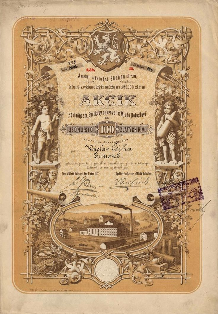 Spolkový cukrovar u Mladé Boleslavi (Vereins-Zuckerfabrik bei Jungbunzlau) později Spolkový rolnický cukrovar v Čejetičkách. Akcie na 200 Zlatých, lit. B. Mladá Boleslav (Čejetičky), 1872.