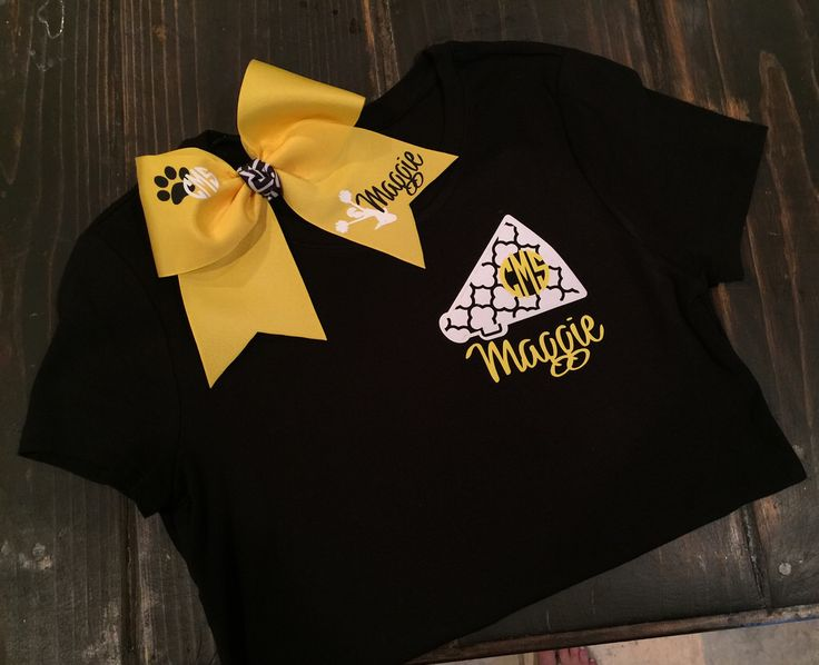 Personalized cheer bow and tshirt for cheer camp gift.