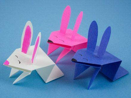 Jumping origami bunnies
