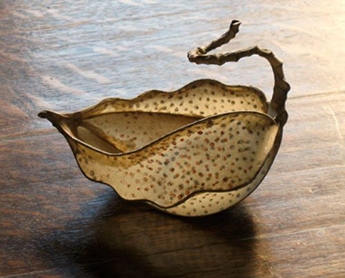 """Jessica Beels - """"Double-Printed Polka Dot Vessel,""""  2009 Flax paper w/ acrylic print shrunk over steel 5in. wide x 6in. high x 4.5in. deep #finecraft"""