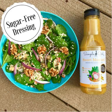 Simple Girl Sweet Mustard sugar-free salad dressing is also gluten free, vegan, low carb, and fat free!
