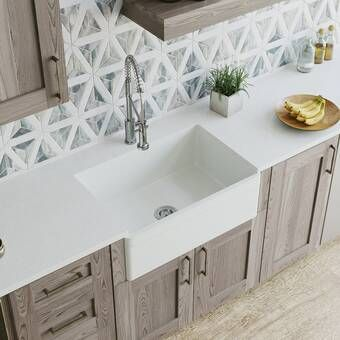 Modern Farmhouse White Kitchen Cabinets And Sink With Brass Hardware