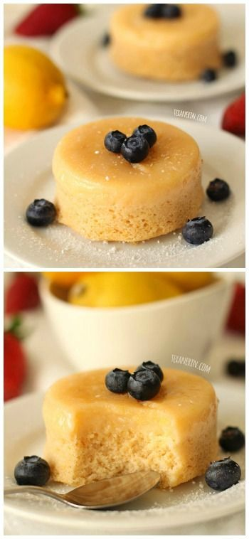 These whole grain lemon pudding cakes are the perfect Easter or spring dessert for two!