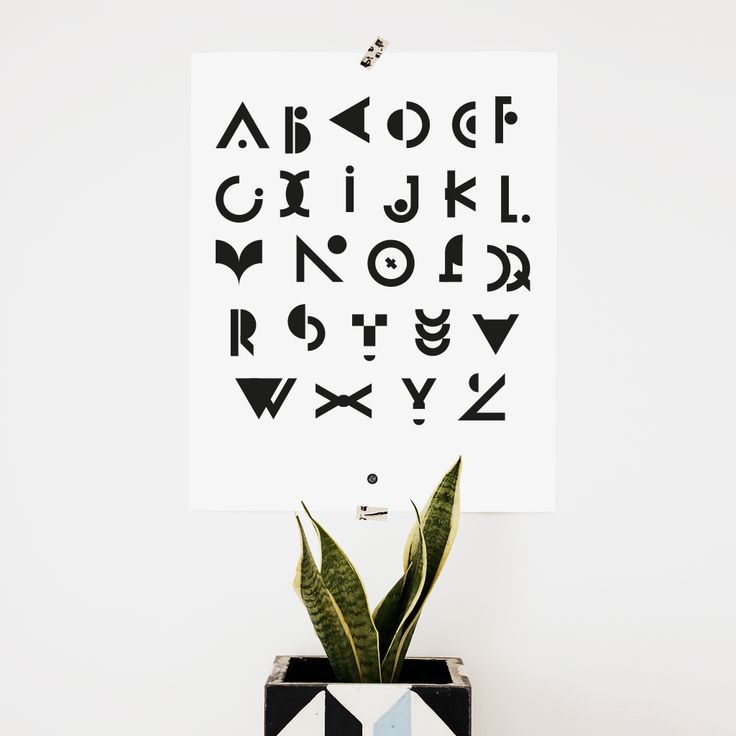 Fresh… Alphabet geometric poster! Size: 40 x 50 cm, available in two colors. Light grey with dark blue typographic elements on plus the classic black and white version. If you prefer digital … #typography #design