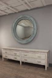 The Duomo Convex - Inspired by the vast windows of the Duomo in Florence, a large and stunning contemporary, painted wood framed mirror with a distressed convex plate. (Shown here in pale blue).