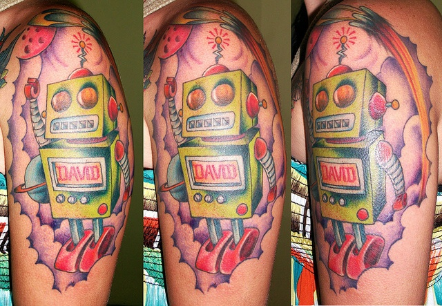 Bright colorful robot tattoo