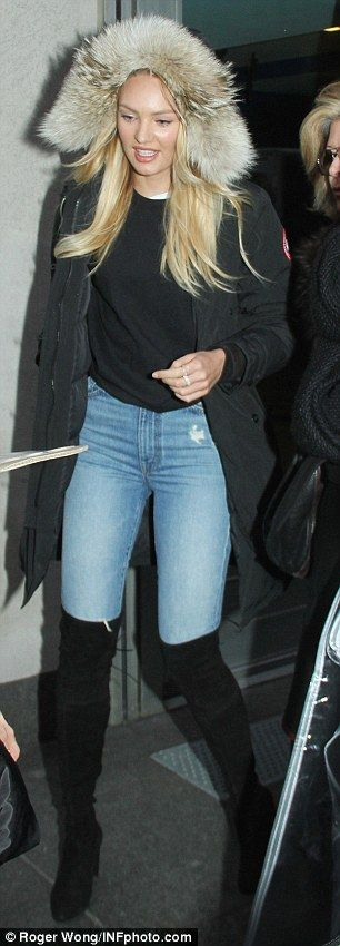 Bundled up: Candice wore a more laid-back look when she first arrived to the studio, prior...
