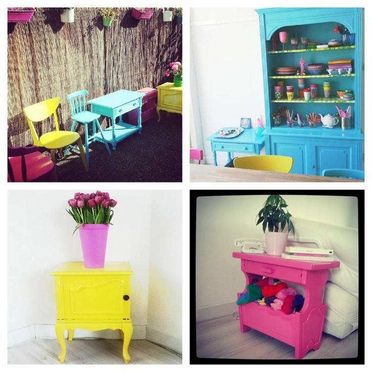 Restylen van oude meubels in funky kleurtjes: www.haremaristeit.nl/ik-hou-van-meuk-tag-2/