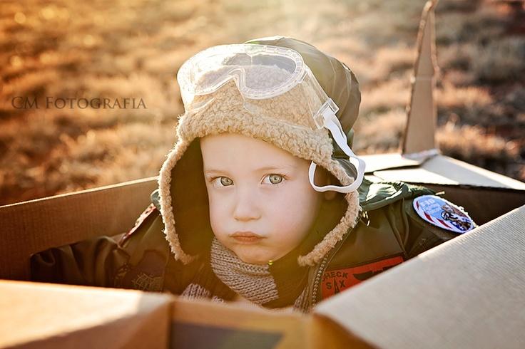 cardboard box airplane photo shoot