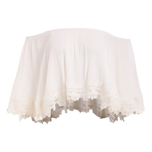 Lace Trimmed Layered Off-The-Shoulder Crop Top (£9.98) ❤ liked on Polyvore featuring tops, shirts, crop tops, cropped, off shoulder crop top, pink crop top, pink shirt, layered tops and layering shirts
