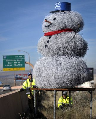 12 foot high tumbleweed snowman in Albuquerque - NM Highway Dept. Holiday Tradition